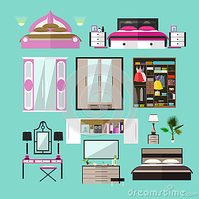 Bedroom Interior Objects In Flat Style Vector Illustration Stock Vector Image 74648185