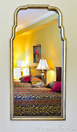 Free Bedroom Interior Reflected In Mirror Stock Image - 7474451