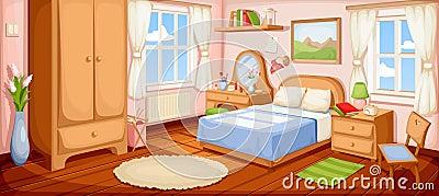 Bedroom interior. Vector illustration. Vector Illustration