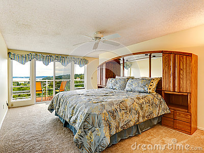 Bedroom interior with walkout deck
