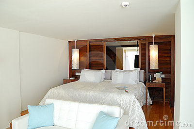 The bedroom in luxury apartment of modern hotel