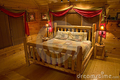 Bedroom in luxury log cabin