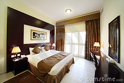 Bedroom opened curtain big double bed general