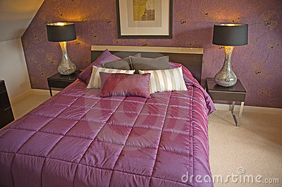 Bedroom in purple.