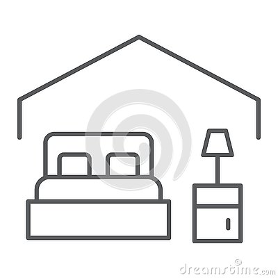 Free Bedroom Thin Line Icon, Hotel And Sleep, Bed Sign, Vector Graphics, A Linear Pattern On A White Background. Stock Image - 132570761