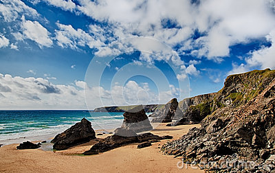 Bedruthan Steps beach in Cornwall UK
