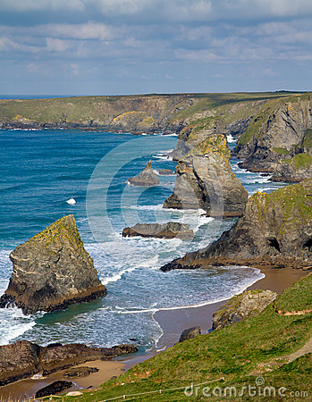 Bedruthan Steps near Newquay Cornwall England