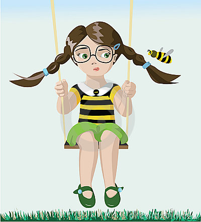Free Bee And Girl Royalty Free Stock Photography - 19040987
