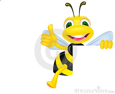 Bee with blank sign
