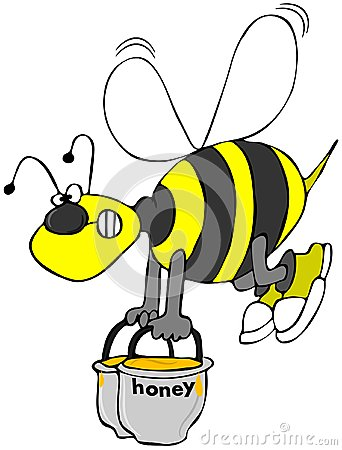 Bee carrying pots of honey