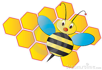 Bee cartoon with beehive