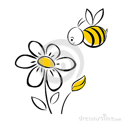 Bee and flower Vector Illustration