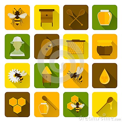Free Bee Honey Icons Flat Royalty Free Stock Photography - 45560087