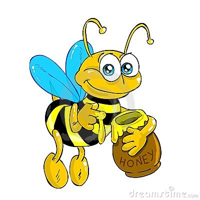 Bee with honey (isolated)