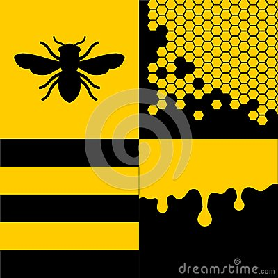 Free Bee Honeycells And Honey Patterns Set. Vector Royalty Free Stock Photo - 42468775