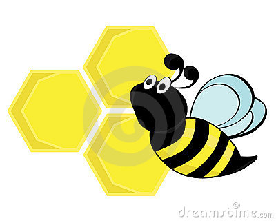 A bee with a honeycomb