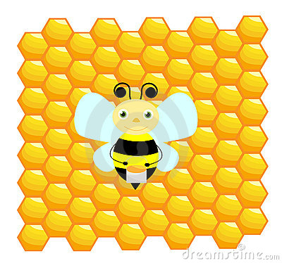 Bee with honeycomb background