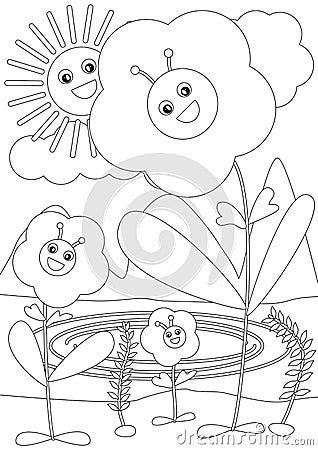 Bee Inside Flower Coloring_eps