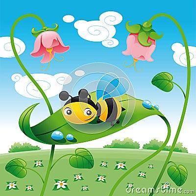 Bee on the leaf
