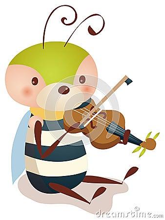 Bee playing  violin