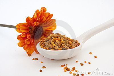 Bee Pollen Granules and Orange Flower