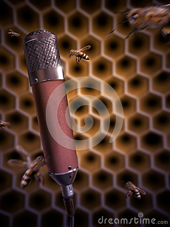 Bee Singing Into A Microphone - Digital Painting