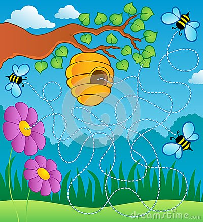 Free Bee Theme Maze Stock Images - 25558754