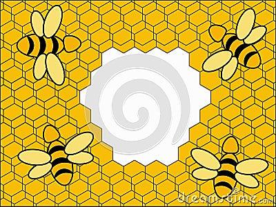 Bee on yellow background