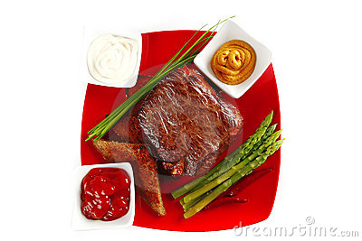 Beef bbq on red