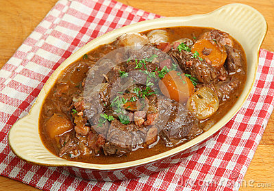 Beef Bourguignon Stew in Serving Dish