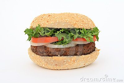 Beef burger over white
