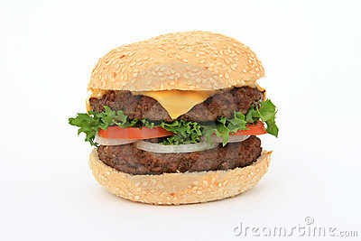 Beef Burger Over White Royalty Free Stock Image - Image: 1126846