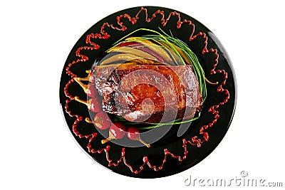 Beef chunk served on black