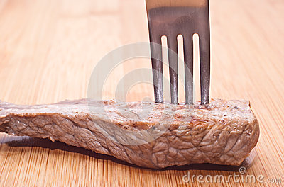 Beef with fork