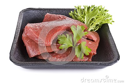 Beef frying steak in tray - isolated