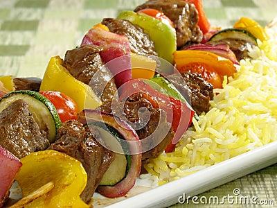 Beef Kebab and Saffron Rice