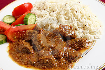 Beef korma and rice horizontal