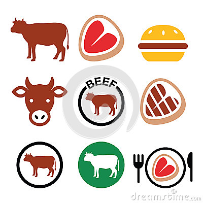 Beef Meat, Cow Vector Icon Set Stock Vector - Image: 55172117