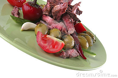 Beef meat slices on green