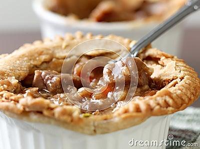 Beef pot pie closeup