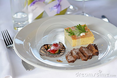 Beef with potato souffle