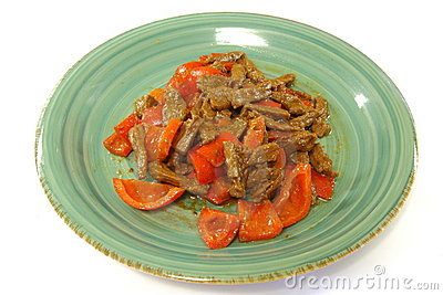 Beef & Red Bell Pepper stir-fry in Satay