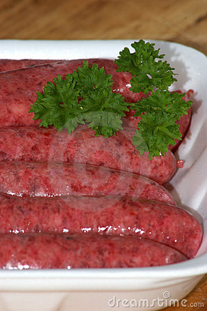 Beef sausages in a styrofoam container