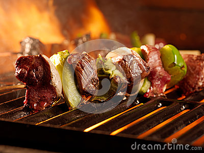 Beef shish kabobs on the grill