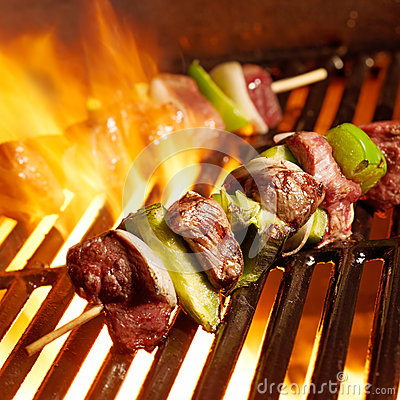Free Beef Shish Kabobs On The Grill Royalty Free Stock Photos - 26453978
