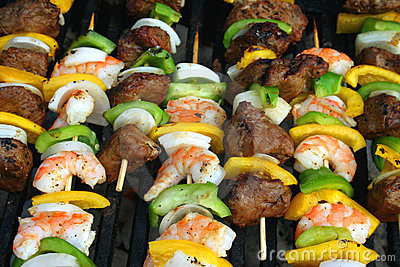Beef And Shrimp Shish Kabobs Royalty Free Stock