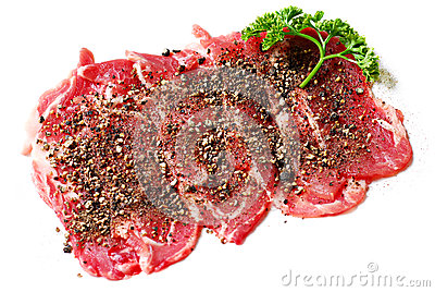 Beef slices isolated
