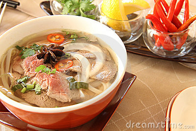 hot and spicy beef soup Stock Photo