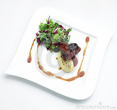Beef steak and vegetables