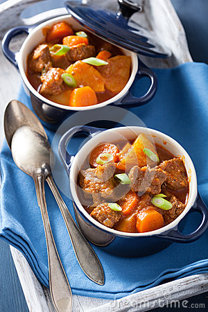 Beef Stew With Potato And Carrot In Blue Pots Stock Photo - Image ...